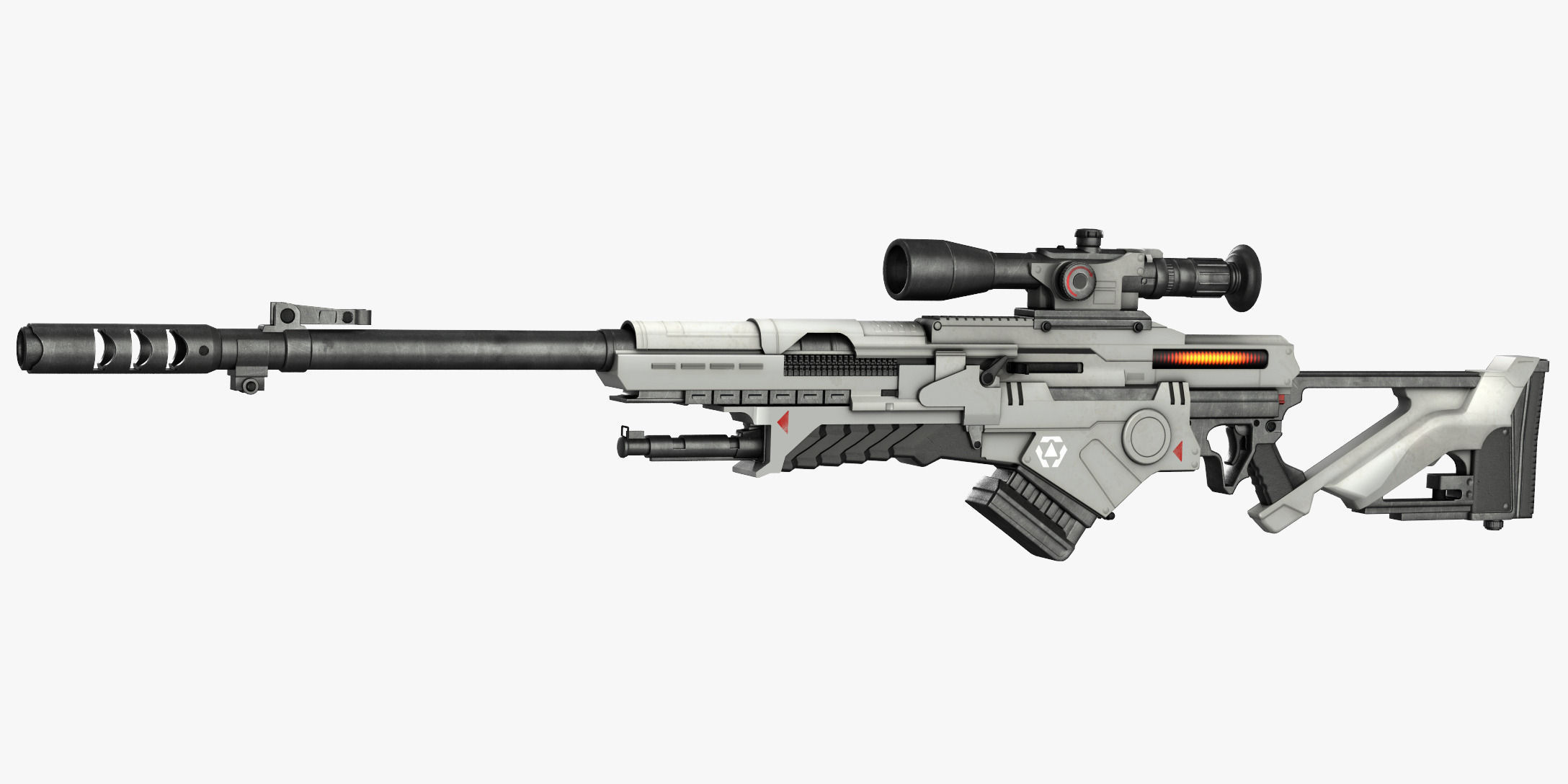 3d Model Sci Fi Rifle Vr Ar Low Poly Max Obj