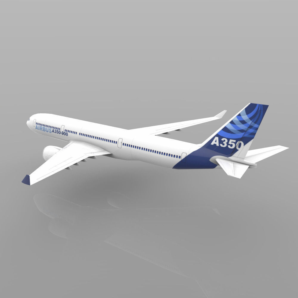 Airbus A 350 900 3D Model Game Ready Obj 3ds Lwo Lw Lws