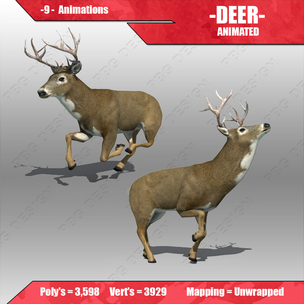 Deer Animated 3D Model Game Ready Animated Rigged Max Fbx