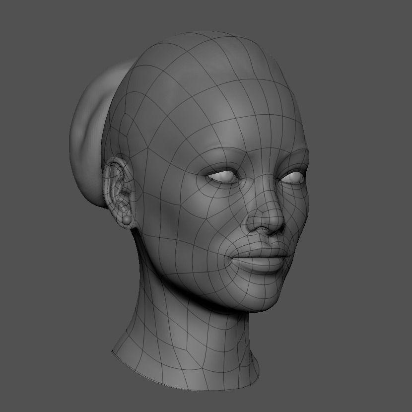Head Base Mesh Asian Female Free 3D Model STL ZTL