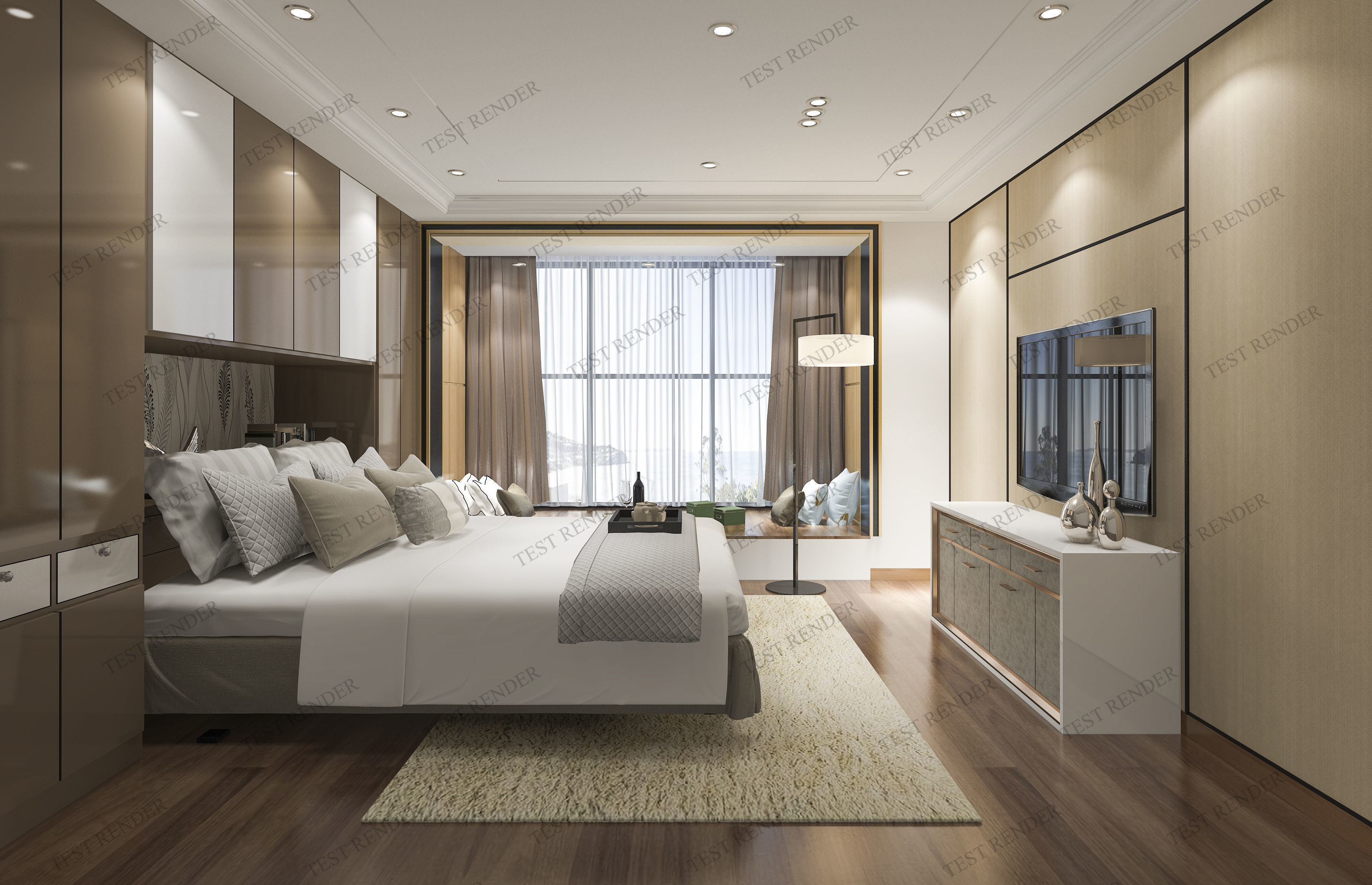 luxury modern bedroom suite in hotel with chinese style 3D on New Model Bedroom Design  id=74248