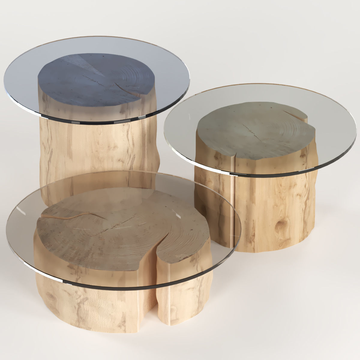 3 round coffee table stump with glass top 3d model