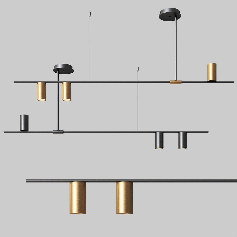 mid century modern 3 light linear ceiling light in black 3d model