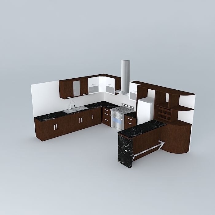 architectural Kitchen design with equipment 3D | CGTrader on Modern:ln_Sacsp1Ua= Kitchen Model  id=11691