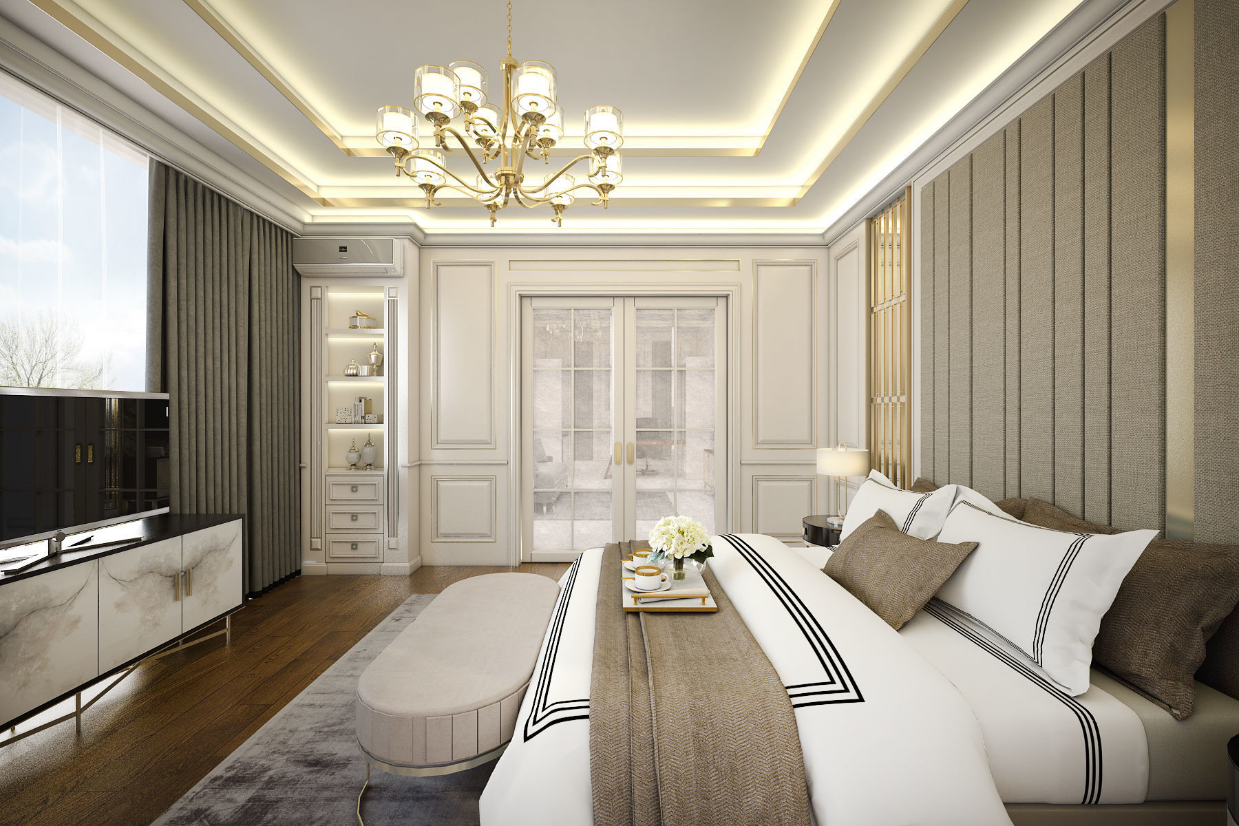 Contemporary Classic Bedroom 3D model SKP on Model Bedroom Ideas  id=46639