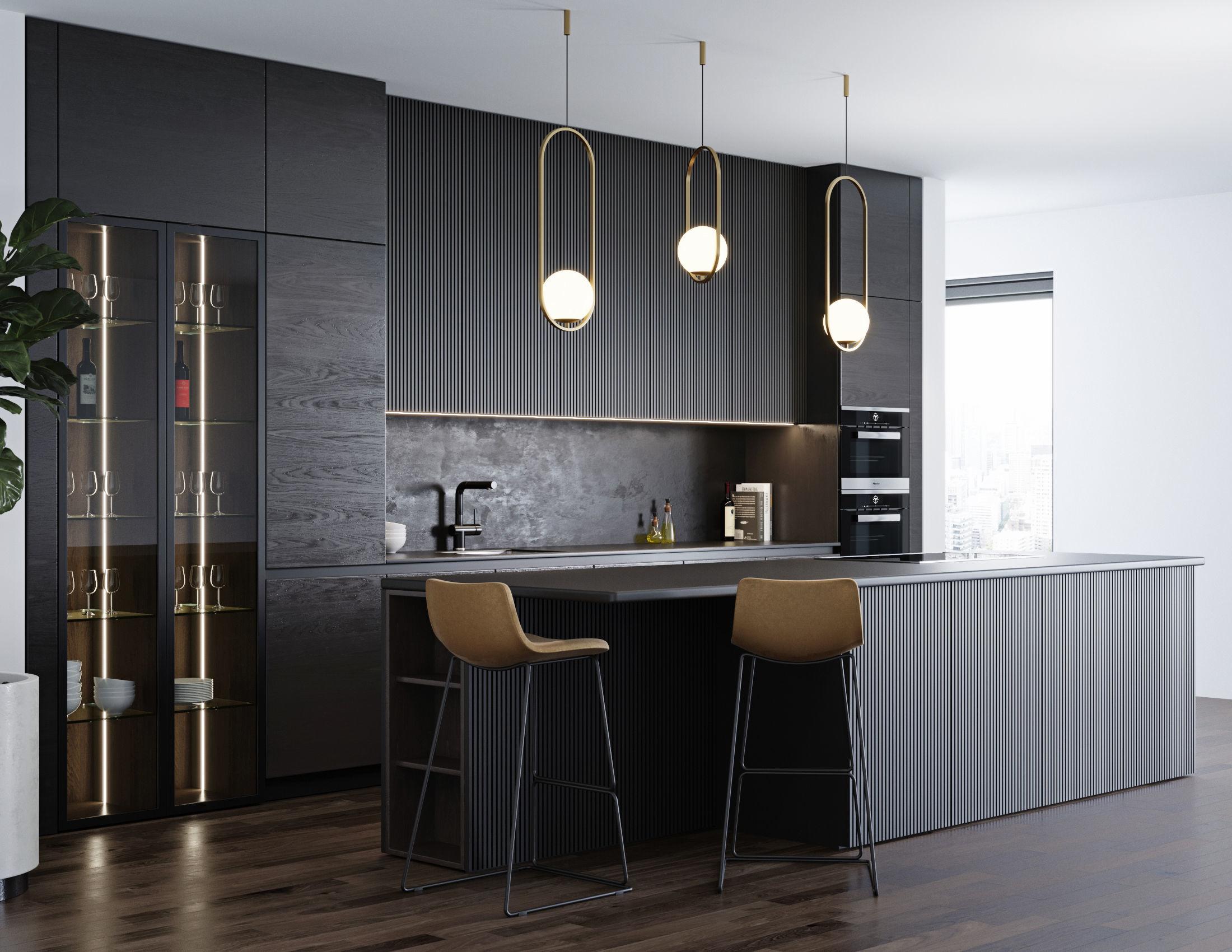 Black modern kitchen 3D | CGTrader on Model Kitchen  id=54741
