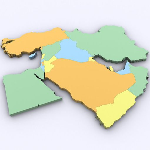 3D model Map of the Middle East   CGTrader map of the middle east 3d model max obj 3ds mtl tga 1
