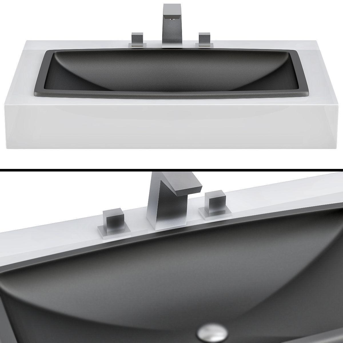 rectangular drop in bathroom sink black 3d model