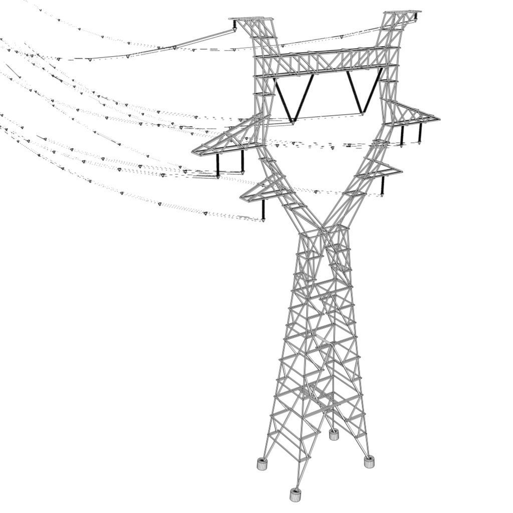 3d Model Modular Powerlines Vr Ar Low Poly Fbx Ma Mb