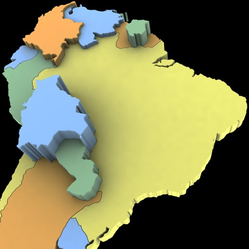 3D model South America Map   CGTrader     south america map 3d model max obj 3ds wrl wrz mtl tga 6