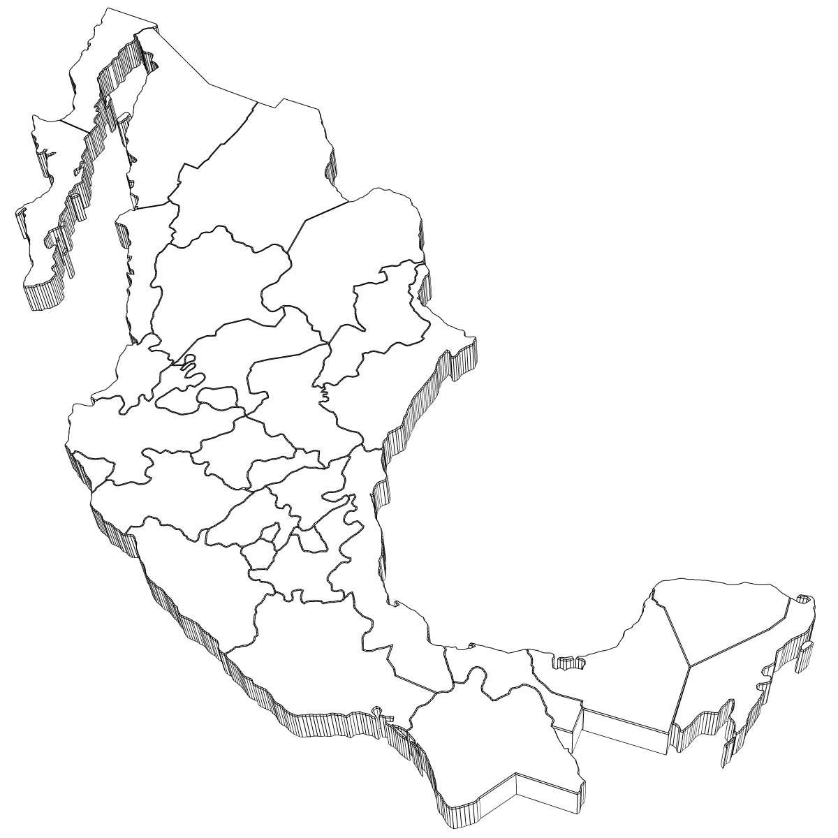 Mexico Map 3d Model X Obj 3ds Wrl Wrz