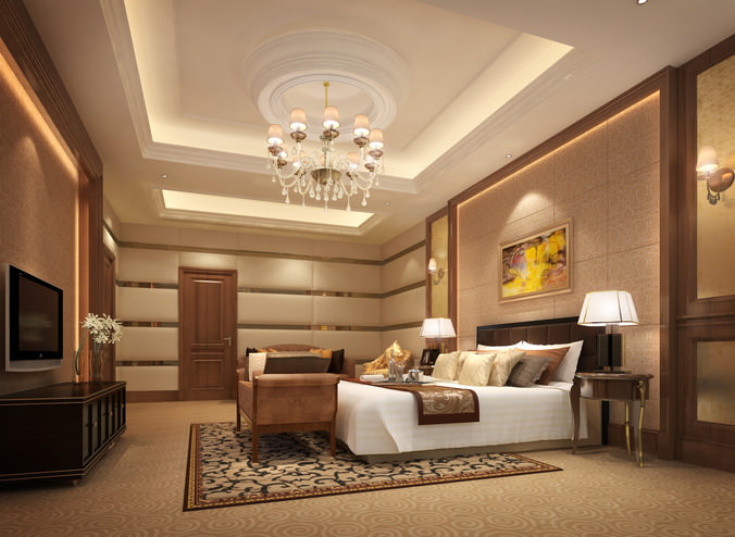 3D Luxurious Hotel Bed Room   CGTrader on New Model Bedroom  id=63350