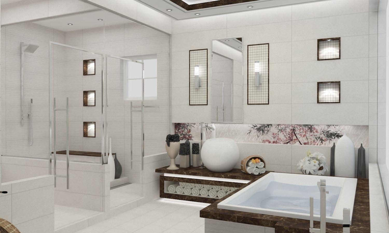 Master Bathroom Modern Style 3D printable model on Bathroom Models  id=68599