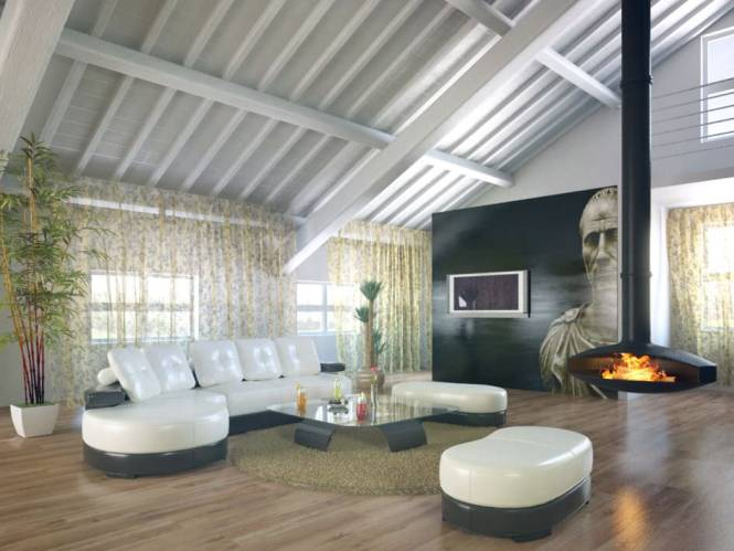 Stunning Loft Apartment With A Fireplace Leather Furniture And An Art Piece Archinteriors Vol 21 Model