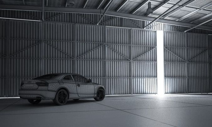 White Audi A5 In Garage 3D Model