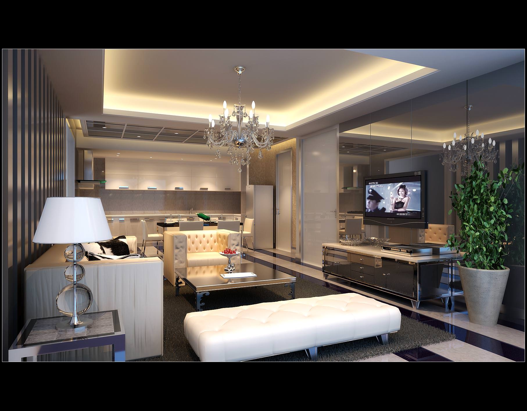 Comfortable Living Room With Modern Bright... 3D Model ... on Comfortable Living  id=82093