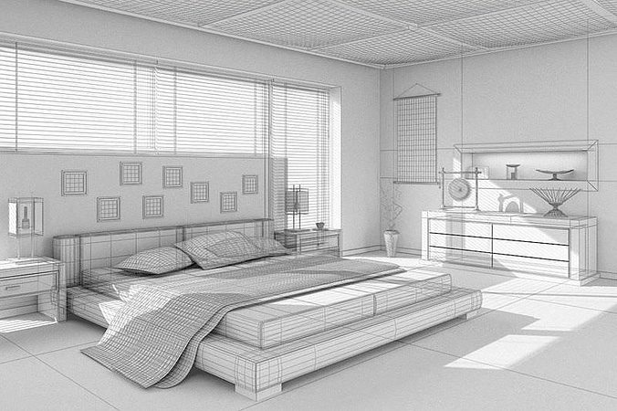Asian Interior Design Bedroom 3D Model MAX | CGTrader.com on Model Bedroom Interior Design  id=83372