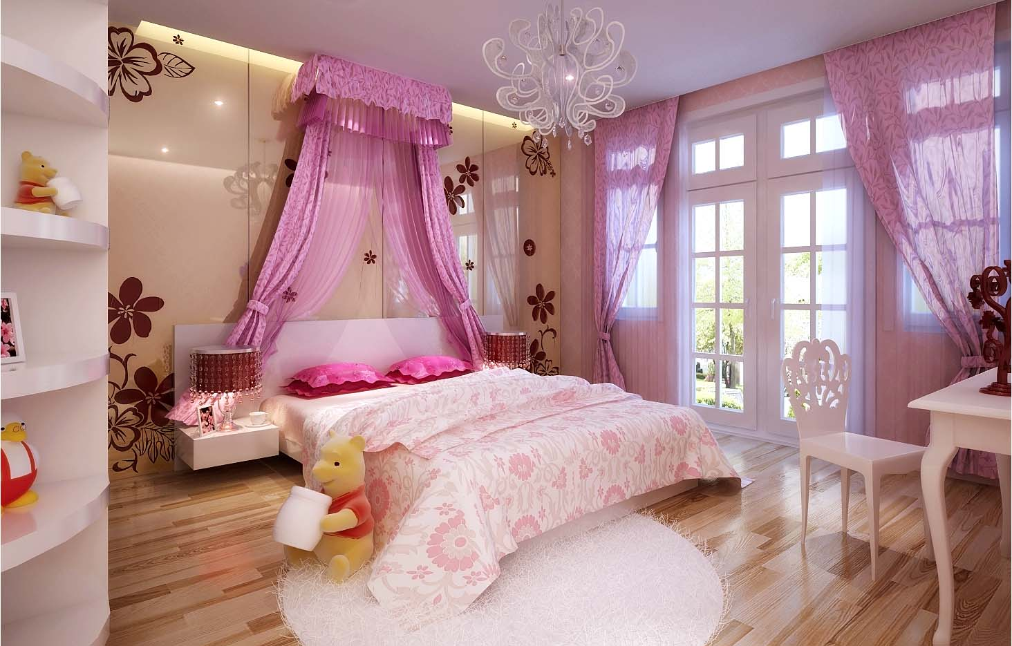 Luxurious Girls Bedroom With Big Bed Full... 3D Model .max ... on New Model Bedroom Design  id=38773