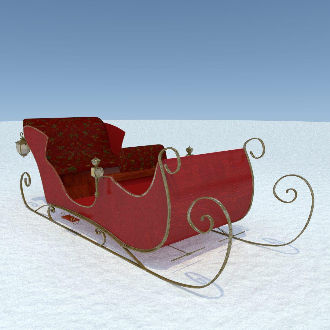 Santa Sleigh 3D Model Obj Fbx Dxf Stl Blend