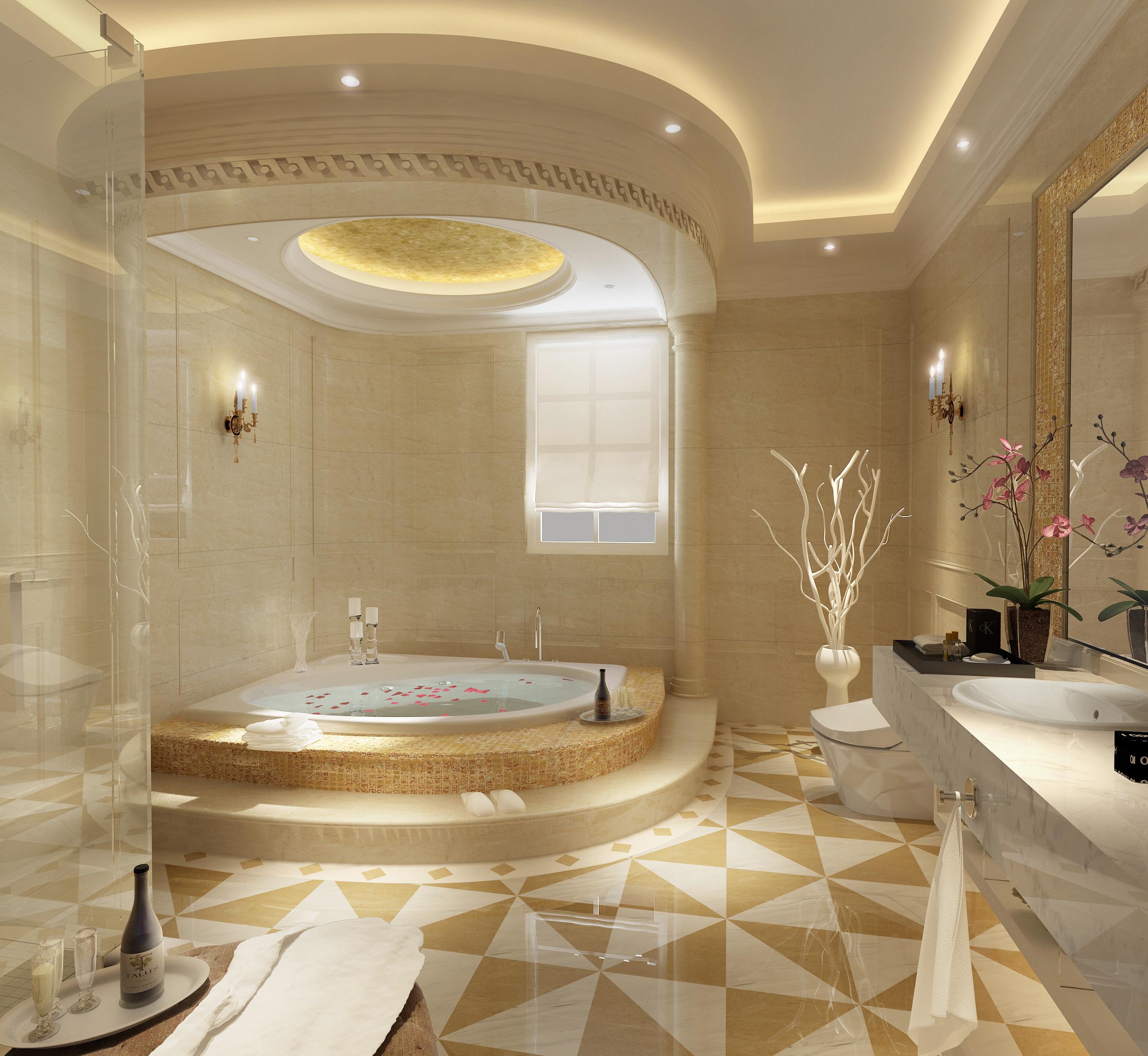 Luxurious Bathroom With Big Bath 3D Model .max - CGTrader.com on Bathroom Models  id=70279