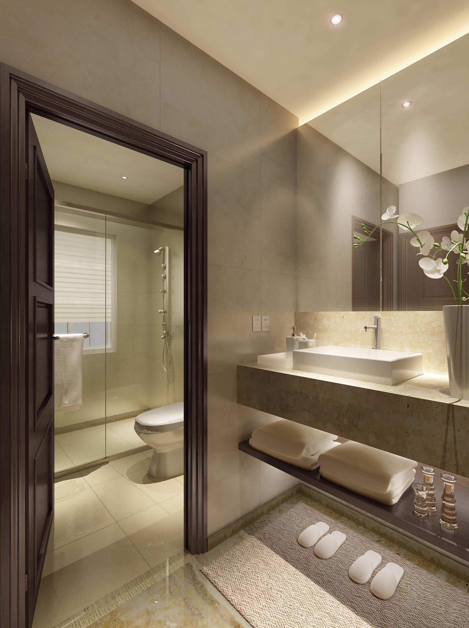 Luxurious Bathroom With Marble Floor 3D Model .max ... on Model Bathroom  id=41310