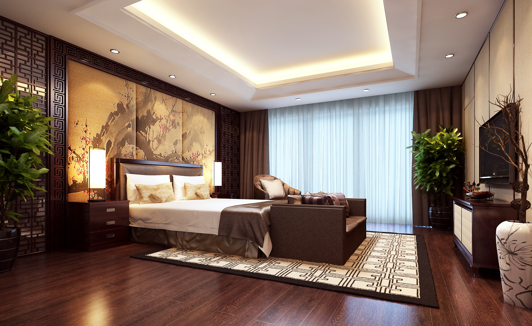 Modern Brown Bedroom 3D Model MAX   CGTrader.com on New Model Bedroom Design  id=56270