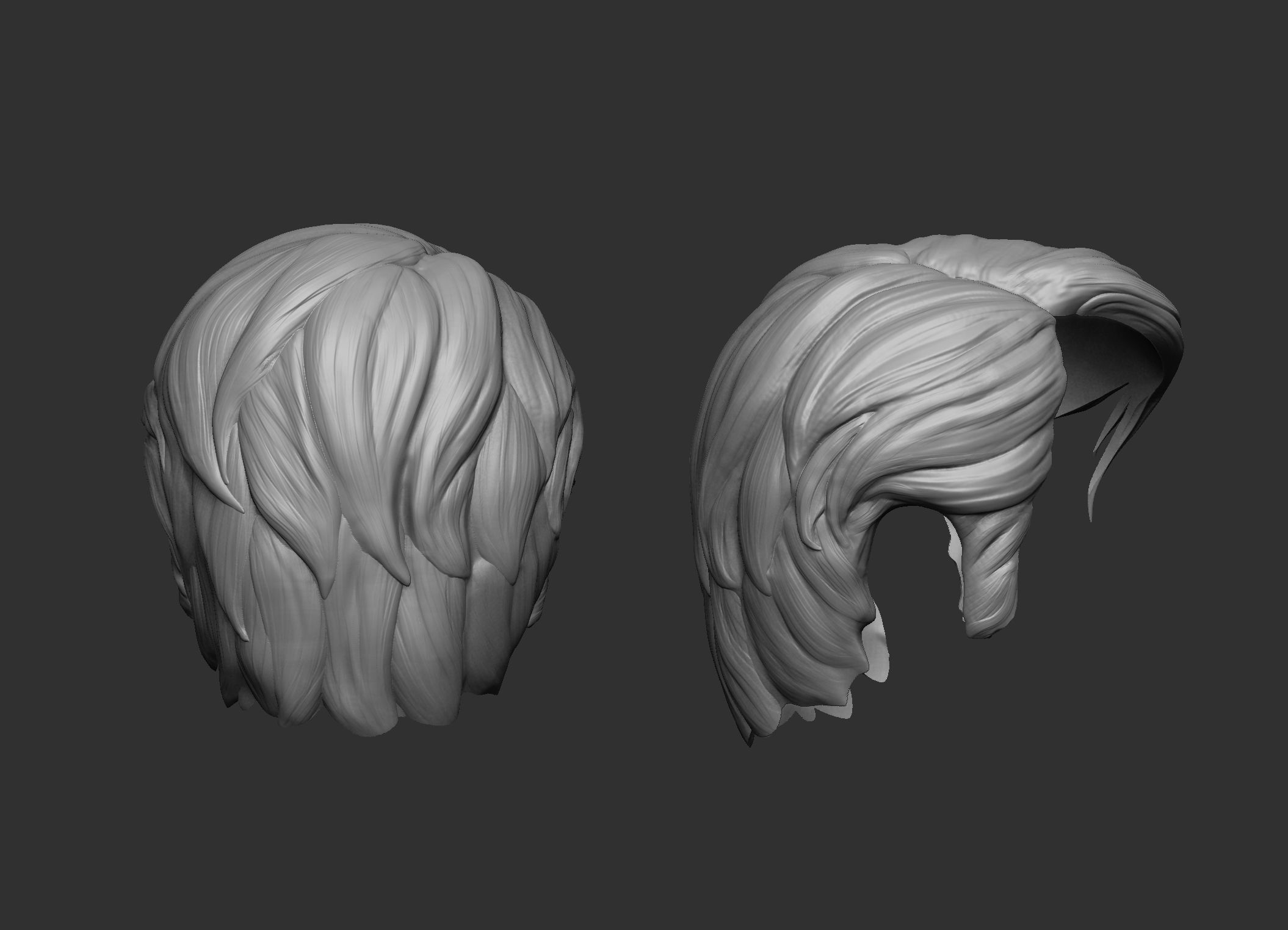 Short Hair Stylized 3D Model 3D Printable STL CGTrader