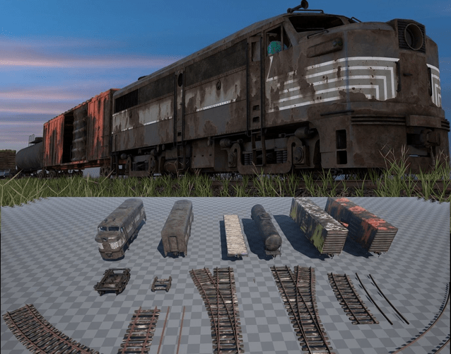3D Asset Abandoned Train Pack Game Ready CGTrader