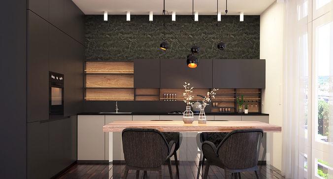 3D Italian Modern Kitchen | CGTrader on Modern Model Kitchen  id=89998