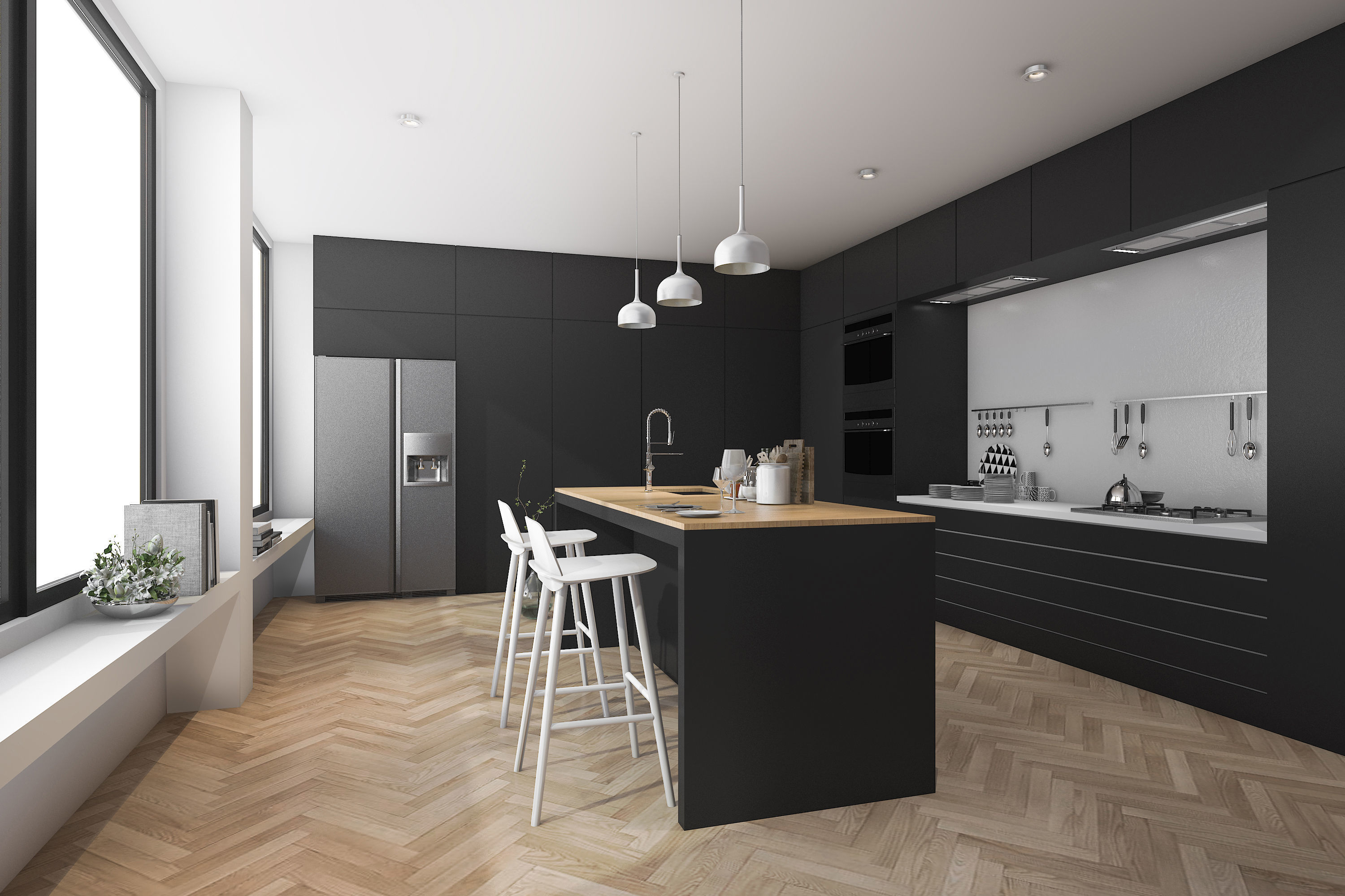 Modern kitchen and dining room with wood floor 3D model on Modern:8-Rtxafges8= Model Kitchen  id=88265