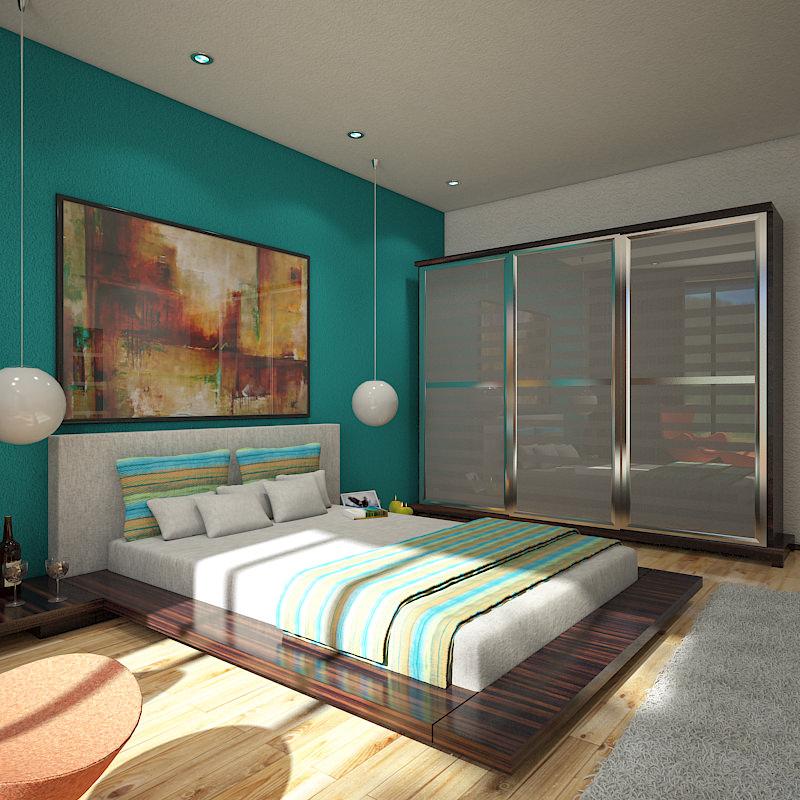 Bedroom 1 3D Model MAX OBJ 3DS   CGTrader.com on New Model Bedroom  id=84008