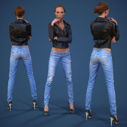 3D Model Girl In Ripped Jeans Leather Jacket And Heels VR