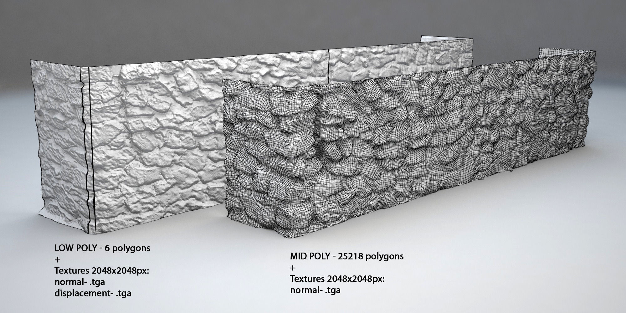 3D model Stone wall 001 VR / AR / low-poly 3DS - CGTrader.com on Granite Models  id=61458