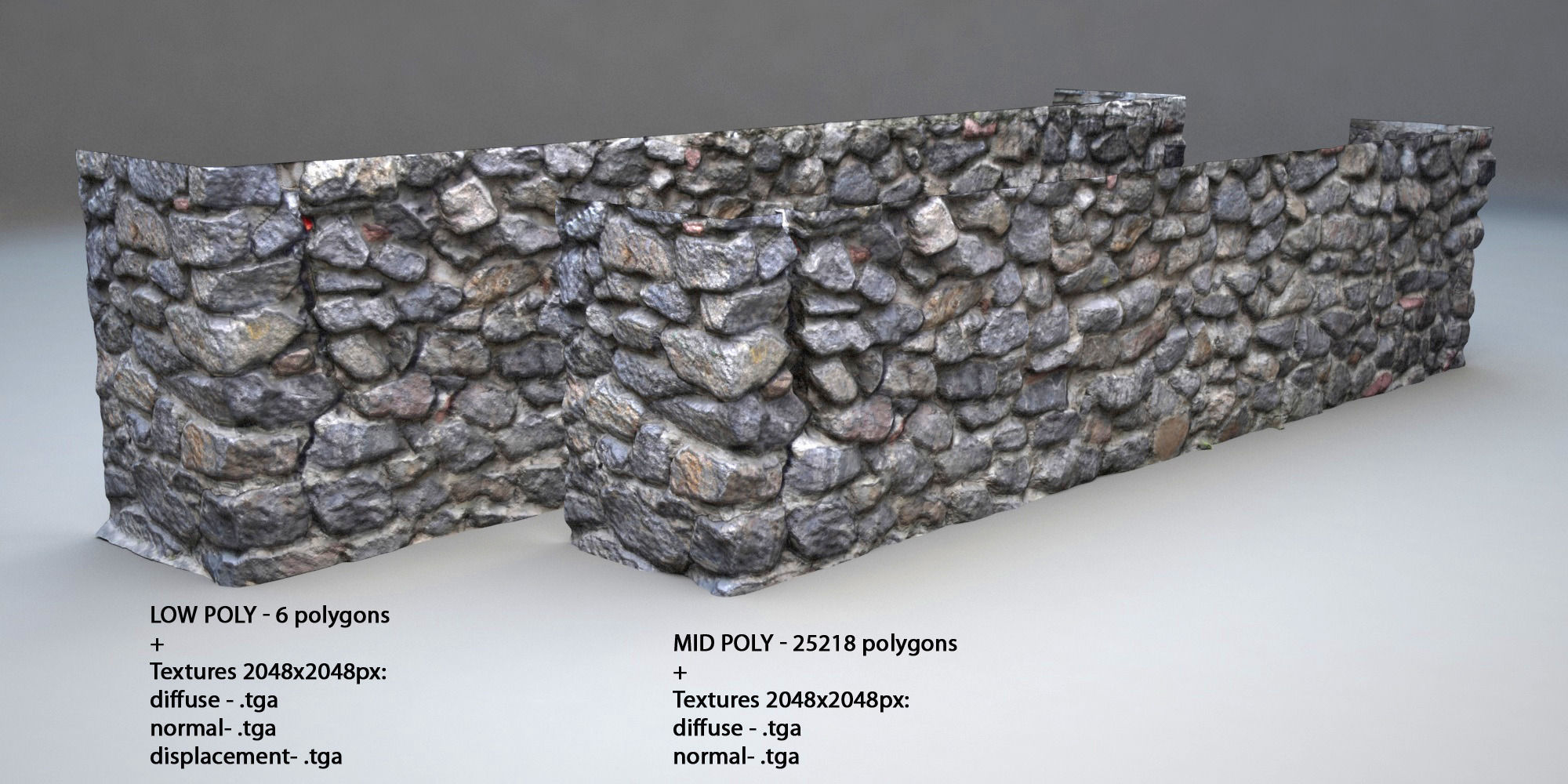 3D model Stone wall 001 VR / AR / low-poly 3DS - CGTrader.com on Granite Models  id=81214