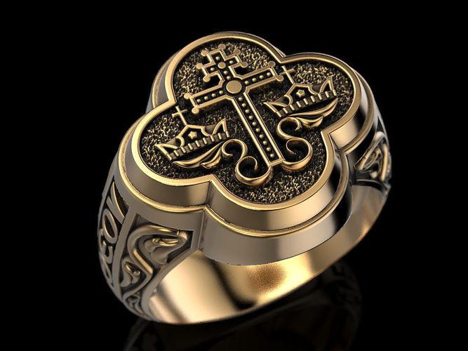 Wedding Orthodox Byzantine Ring 3d Print Model Cgtrader