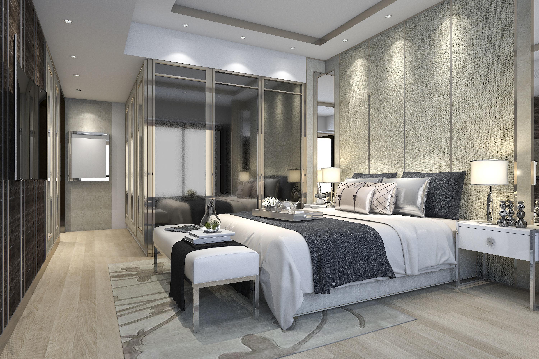 luxury modern bedroom suite in hotel with wardrobe 3D ... on New Model Bedroom Design  id=48981