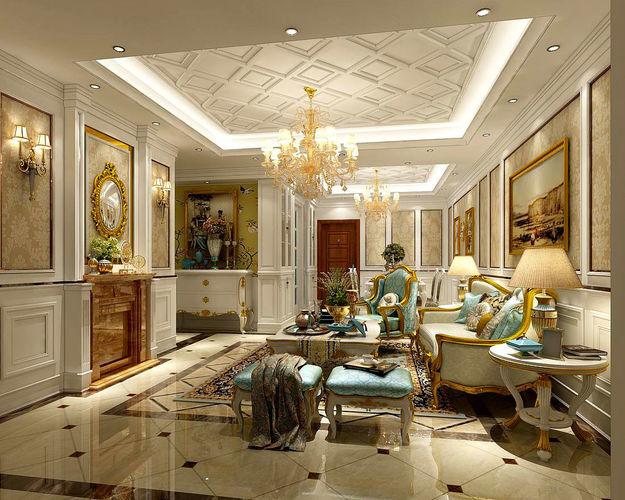 Interior European Style Living Room Design 3D CGTrader