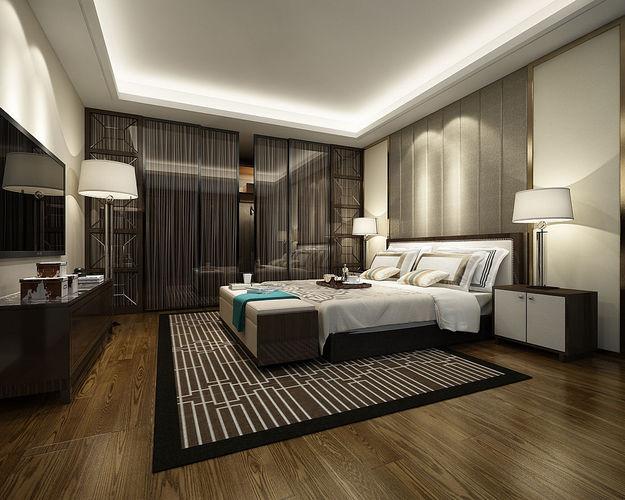 3D Deluxe master bedroom design 27   CGTrader on New Model Bedroom Design  id=86073