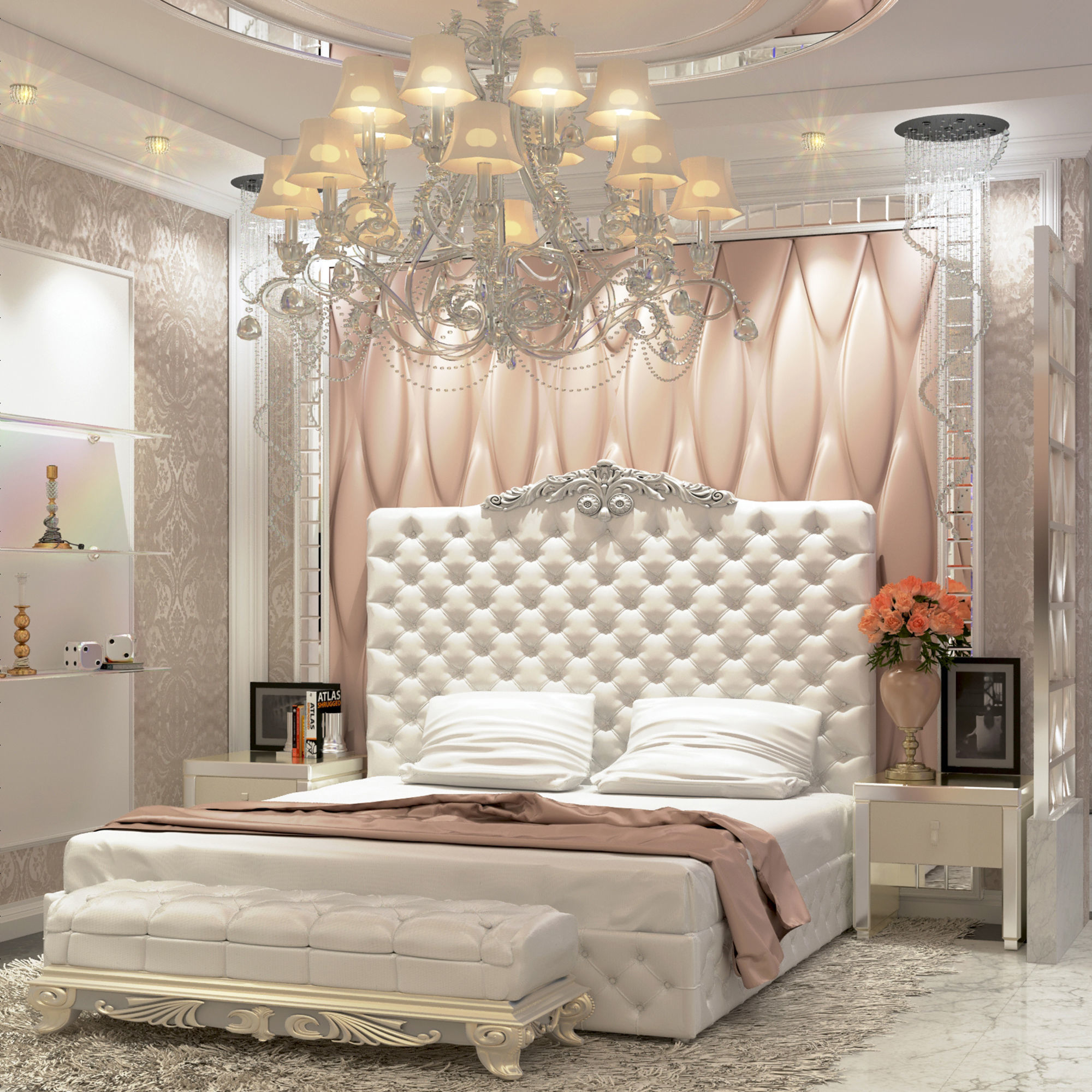 Modern Luxury bedroom and dressing room 3D model on Model Bedroom Ideas  id=54585