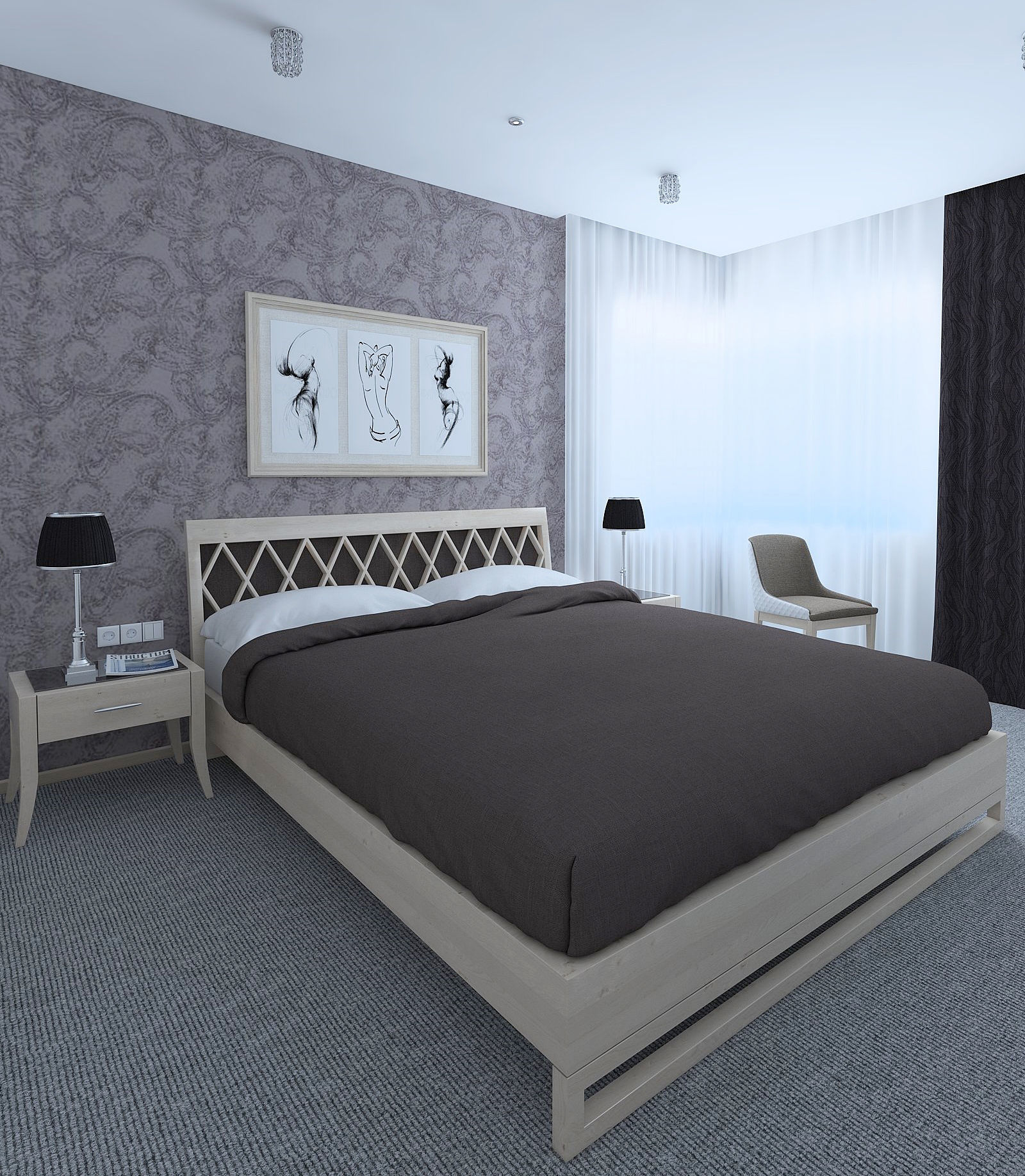 3D A simple bedroom with a gray carpet   CGTrader on New Model Bedroom Design  id=20278