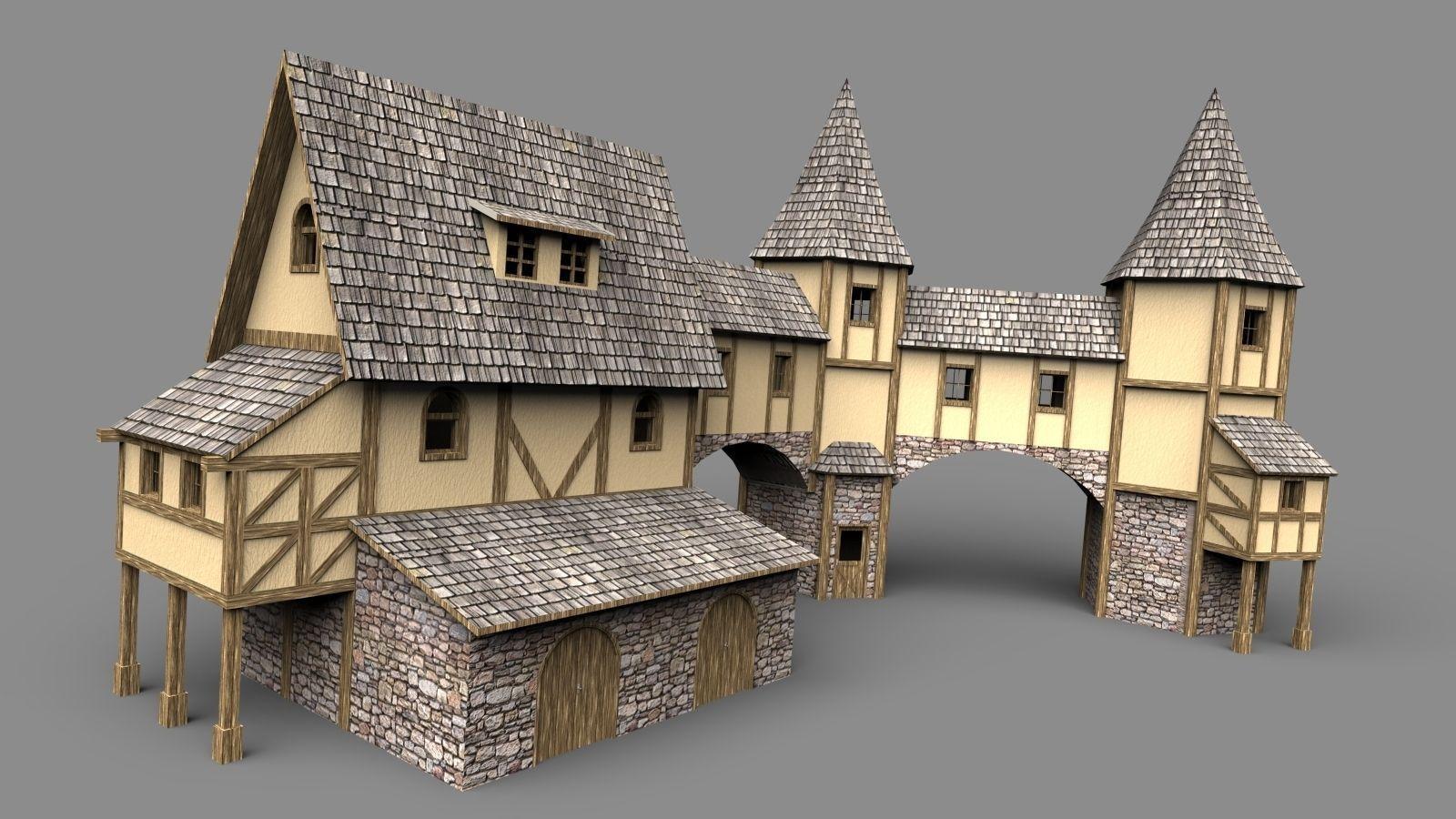 Fantasy House 3D Model Obj 3ds Stl Skp Wrl Wrz