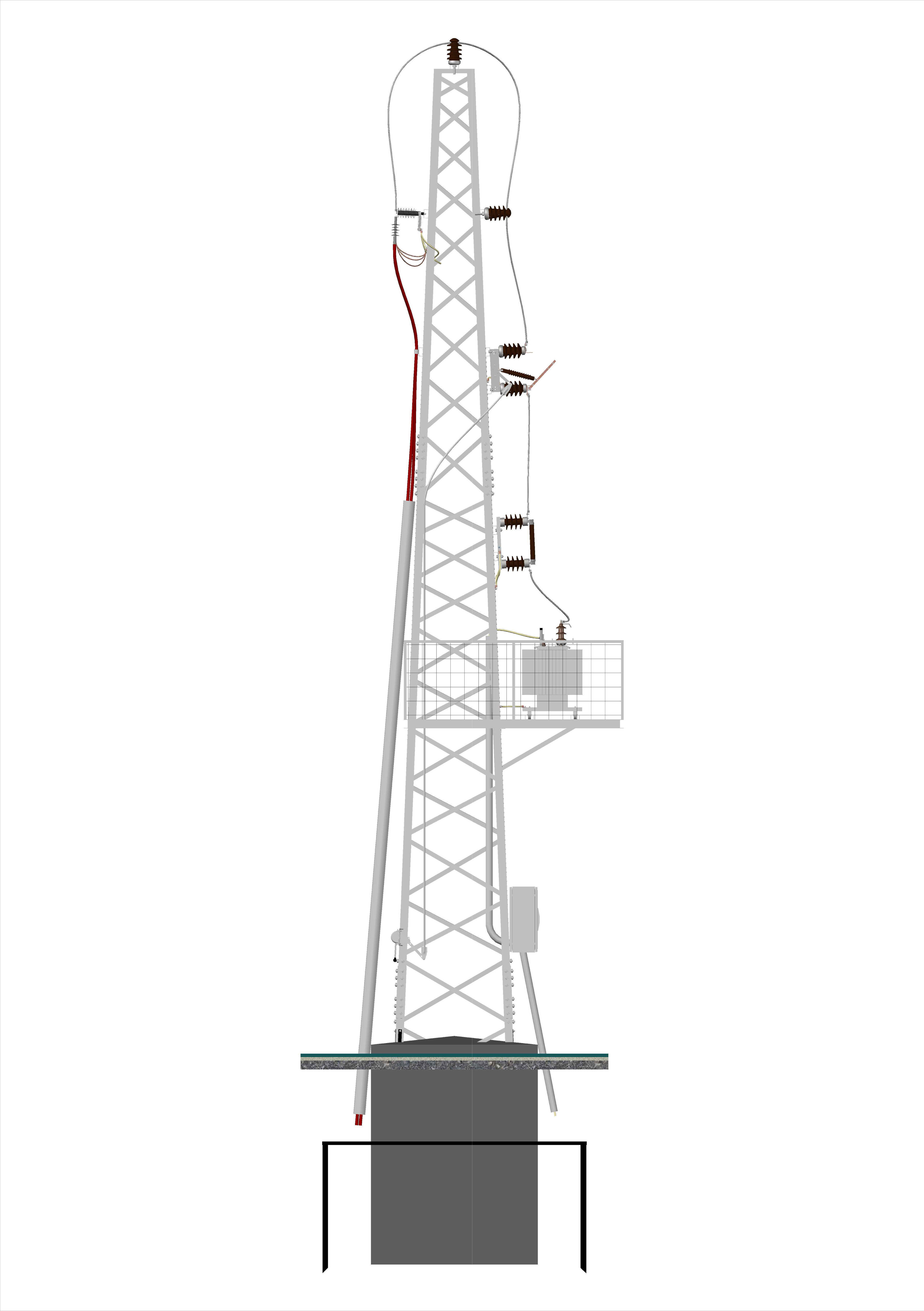 Cable Feeded 952 Tower Transformer Station Free 3d Model
