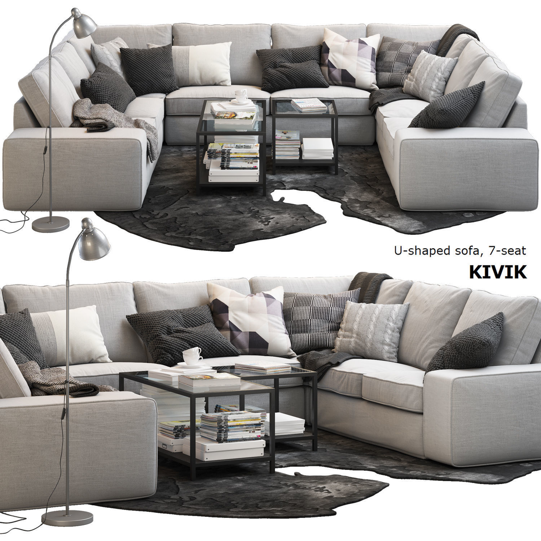 kivik 7 seat u shaped sofa ikea 3d model