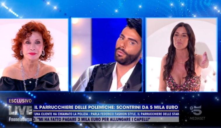 """La lite in diretta tra Antonella Mosetti e Federico Fashion Style: """"Mi hai fatto cadere i capelli"""""""