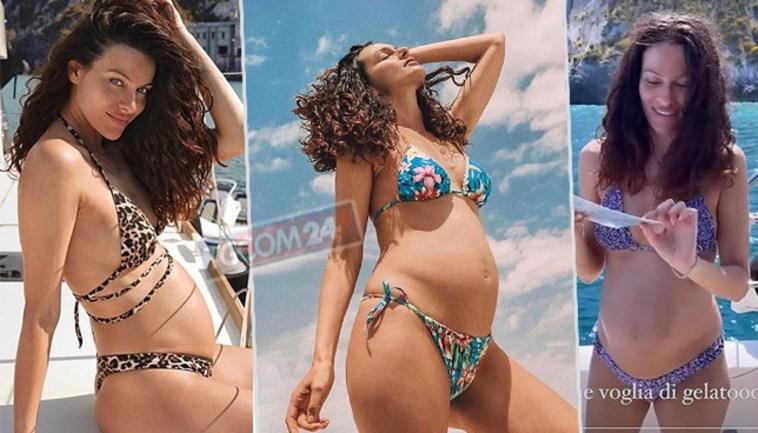 Bikini & pancione nudo, Paola Turani al mare