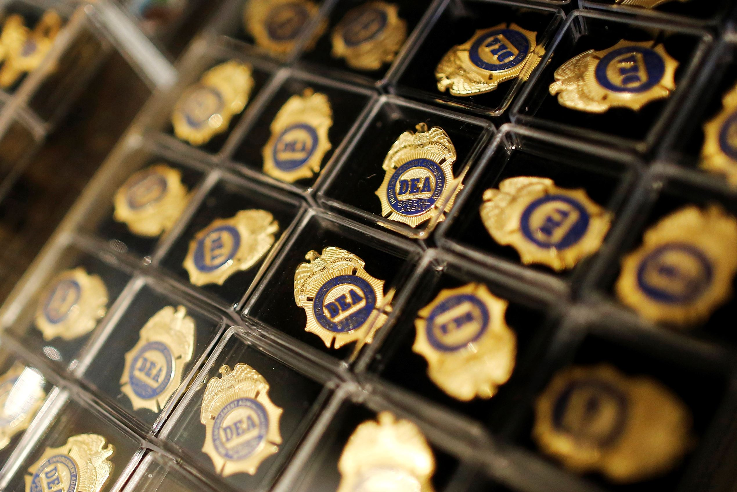 Miniature DEA badges are displayed for sale in the gift shop at the U.S. Drug Enforcement Administration (DEA) Museum in Arlington, Virginia.