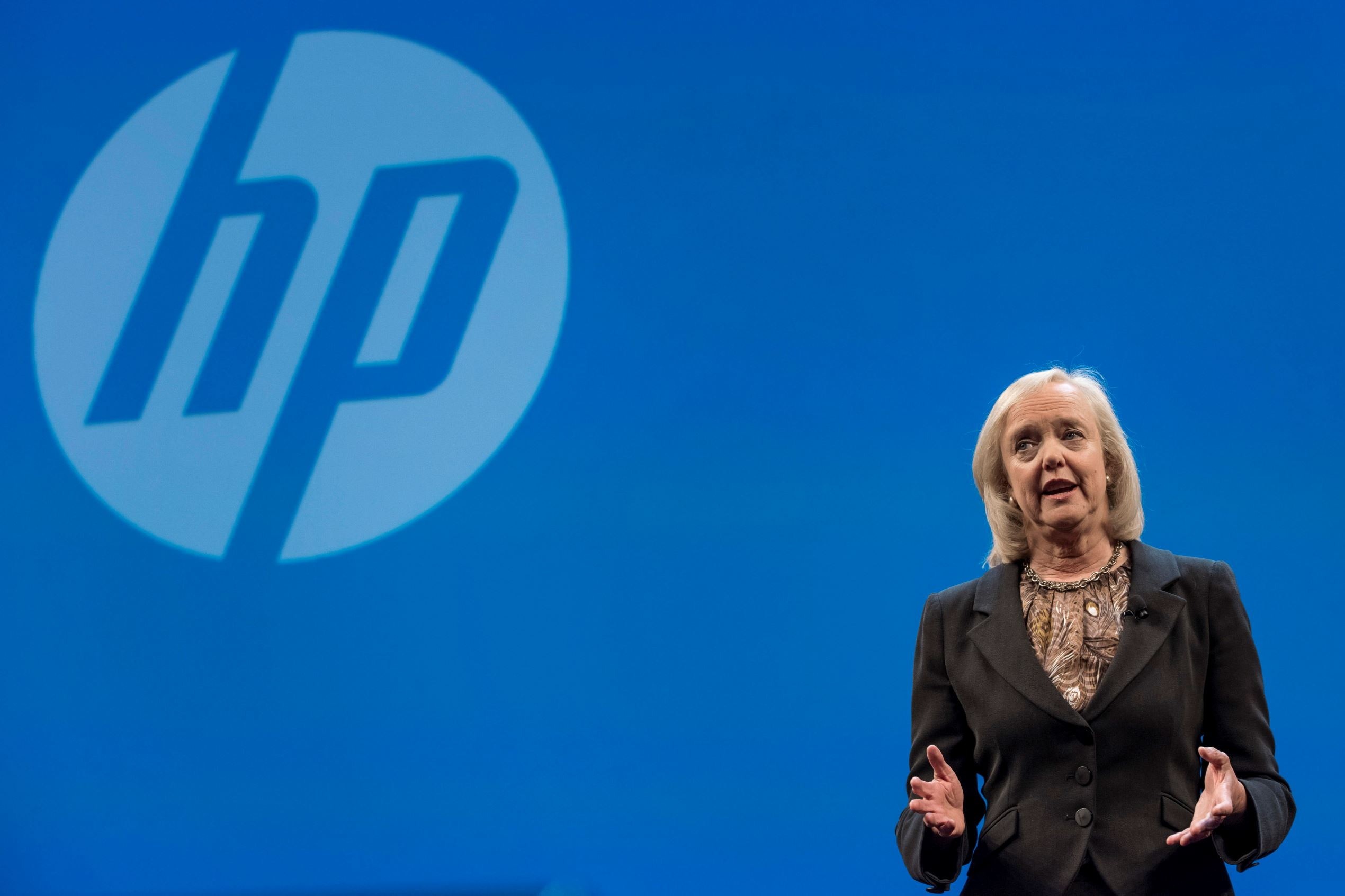 Meg Whitman, chief executive officer of Hewlett-Packard Co., speaks during the HP Discover 2015 conference in Las Vegas, in June.