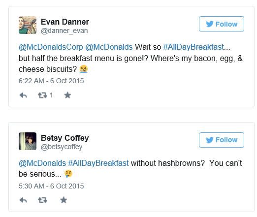 Some users discussed McDonald's breakfast menu on Twitter Tuesday.