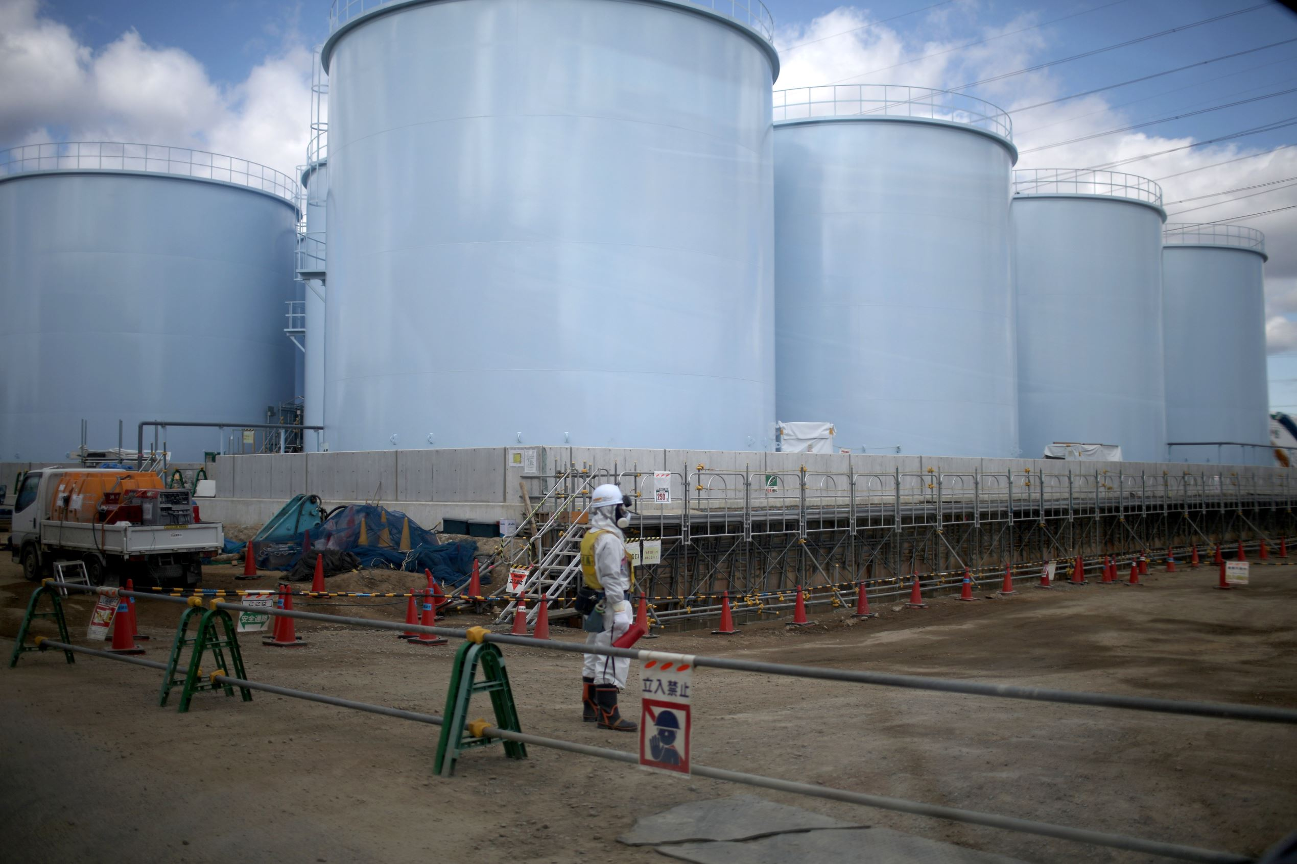 OKUMA, JAPAN - FEBRUARY 25: A general view of tanks holding radiation contaminated water at the Tokyo Electric Power Co.'s embattled Fukushima Daiichi nuclear power plant on February 25, 2016 in Okuma, Japan.