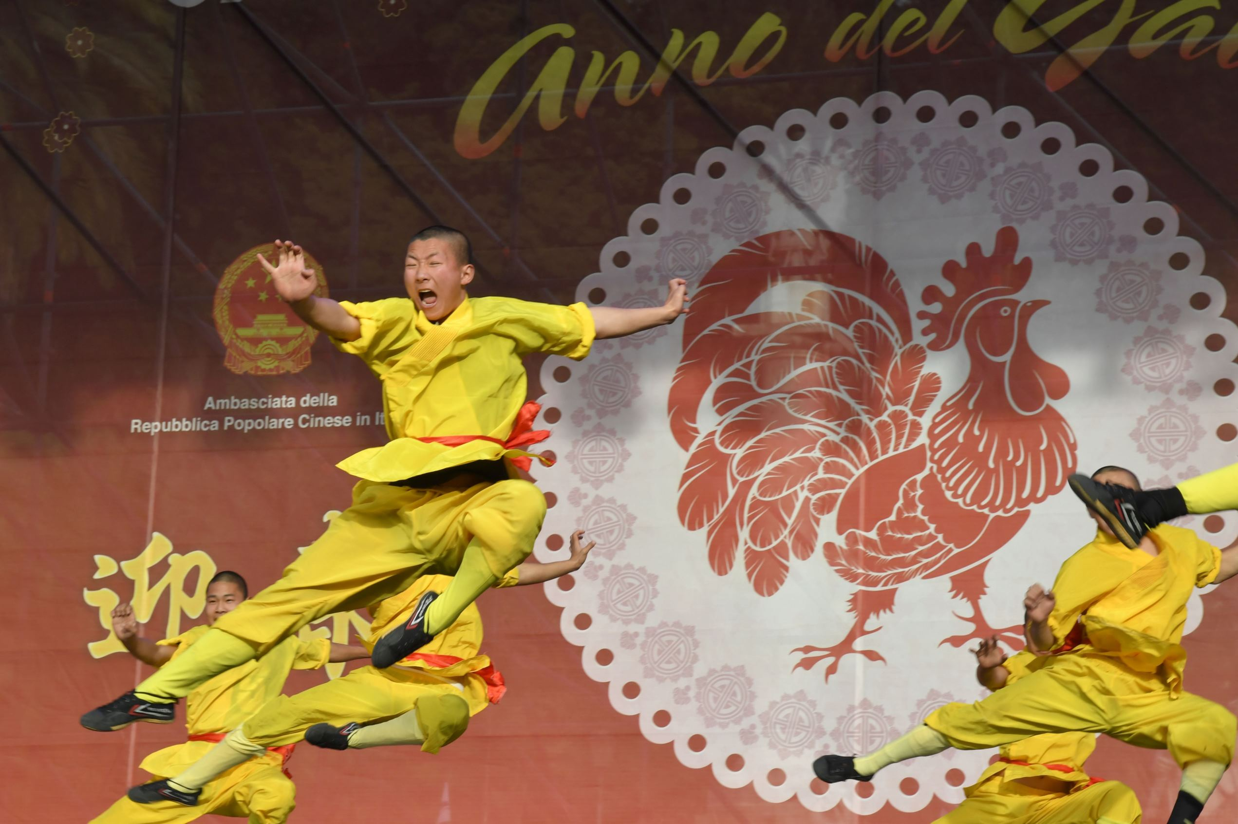 Members of the Chinese community perform on stage during the celebrations of the Chinese Lunar New Year on January 28, 2017 in Rome. This Lunar New Year marks the start of the Year of the Rooster.  Andreas Solaro/AFP/Getty Images